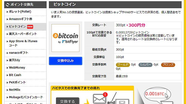 ハピタスポイントをビットコインへ交換